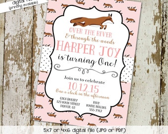 fox birthday invitation couples baby shower pink twins coed sprinkle sip see diaper wipes brunch tea party girl sleepover   261 Katiedid