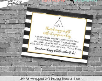 display shower insert | unwrapped gift enclosure card | where the wild things are baby shower | wild rumpus | WTWTA | 292 katiedid designs
