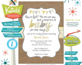 Baby Shower Invitation Gender Neutral, Couple Shower Gender Reveal or Sip and See Invitation | 1417b Katiedid Designs