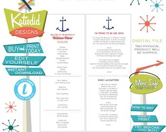 LDS Baptism Program, Anchor Mormon Christening, Great to be 8 eight, Editable   704 Katiedid design
