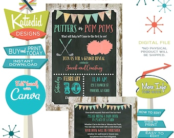 Gender Reveal Invitation Golf Theme Putters or Pompoms, Twin Baby Shower Gender Neutral | 1470 Katiedid