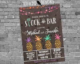aloha luau Hawaiian invitation pineapple couples shower bridal stock the bar I Do BBQ Engagement party gold rehearsal dinner | 374 Katiedid