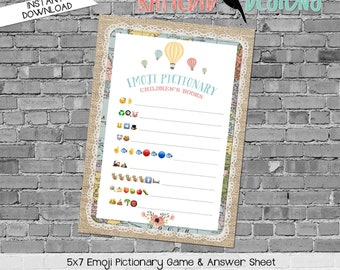 emoji pictionary children's books baby shower game Travel Theme adventure awaits oh the places hot air balloon gender reveal | 1455 Katiedid