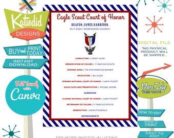 Eagle Scout Court of Honor Program, LDS baptism program mormon, Easy to Edit on Canva | 602 Katiedid designs
