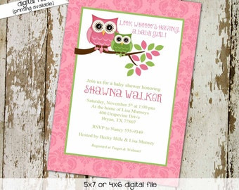 owl baby shower invitation girl pink green gender reveal neutral twins couples coed sprinkle sip see diaper wipes brunch | 1317 Katiedid
