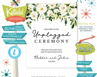 Unplugged Ceremony Sign, Wedding Sign with White Rose Flowers | 003 Katiedid Designs
