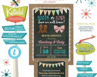 Gender Reveal Invitation Boots or Bows, Baby Shower Gender Neutral, Twins Birthday Party | 1410 Katiedid