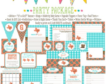 rustic baby girl shower surprise gender reveal co-ed baby shower party package Made in Texas coral turquoise banner 1373 Katiedid Designs