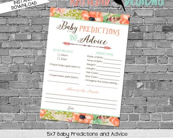 gender reveal party game co-ed baby shower diaper wipe brunch baby predictions stats mint coral boho tribal rustic 1445 katiedid designs