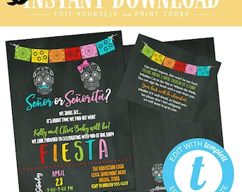 Fiesta gender reveal invitation twin baby shower diaper boy girl senor senorita sugar skull Papel Picado couples birthday | 1460 Katiedid