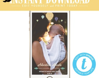 Snapchat geofilter Adventure awaits baby shower invitation World map Hot air balloon Travel Theme gender neutral reveal boy | 1466 Katiedid