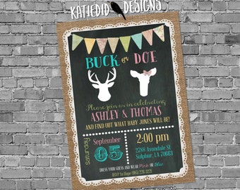 gender reveal invitation buck or doe deer baby shower twins couples coed diaper wipes pink blue chalkboard burlap lace | 1471 Katiedid Cards