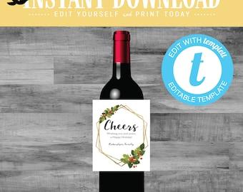 Christmas Wine Label Neighbor or Friend Gift Idea, Gold frame editable templett   840 Katiedid Designs