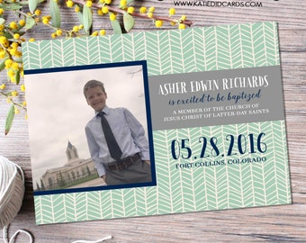 baptism invitation great to be 8 eight LDS mormon tribal arrows ultrasound photo pregnancy announcement mint navy gray | 713 Katiedid Design