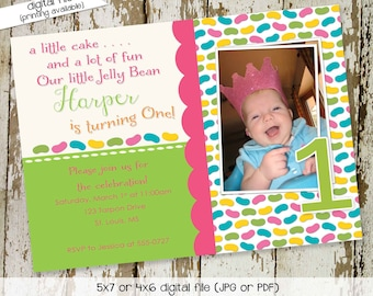 Jelly bean birthday invitation ultrasound photo pregnancy announcement couples baby shower coed sprinkle sip see brunch | 250 Katiedid Cards