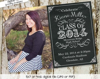High School graduation announcement, Chalkboard invitation with picture photo, College Commencement | 411 Katiedid Designs