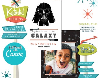 Star Wars Valentine Card Download | Darth Vader Valentine Card | Child's Valentine with Photo | Edit on Canva | Katiedid Cards