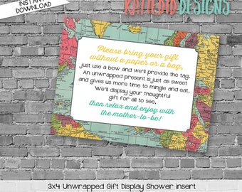 display shower insert | unwrapped gift enclosure card | oh the places baby shower | World map | rustic shower | Travel | 1294 Katiedid Cards