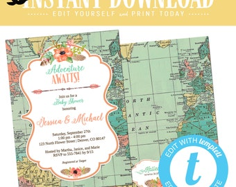 travel theme bridal shower invitation from miss to mrs couples coed editable stock the bar rehearsal dinner engagement party | 1456 Katiedid