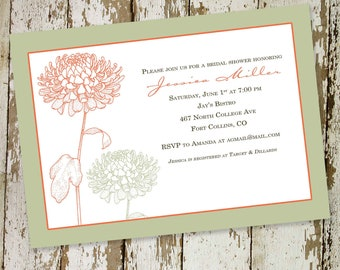 couples shower invitation floral bridal mint coral I do BBQ engagement party stock the bar baptism christening baby | 310 katiedid designs