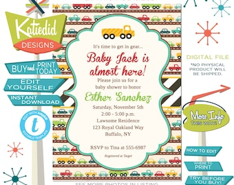 Baby Boy Shower Invitation with Cars, Twin Boys Birthday Party, Editable Invite Templett  | 1264 Katiedid Designs