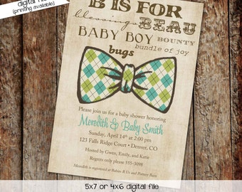 bow tie baby shower invitation little gentleman man subway art B boy christening baptism twins sprinkle sip see gay | 1275 katiedid designs