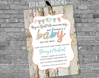 Gender reveal invitation couples baby shower twins rustic neutral coed sip see sprinkle diaper wipes brunch bunting | 1476 Katiedid Designs