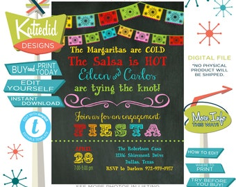 fiesta engagement party invitation papel picado wedding shower cinco de mayo taco love margarita tie knot editable mexican | 301 Katiedid