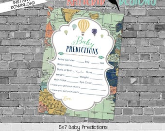 gender reveal party game travel themed baby shower diaper wipe brunch hot air balloon world map baby predictions stats 1466 Katiedid Designs