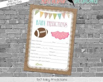 touchdowns or tutus football burlap lace invite rustic chic gender reveal party game coed party baby predictions stats 1431 katiedid designs