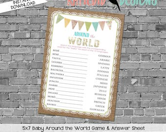 gender reveal party game around the world shower game Travel Themed oh the places you'll go Adventure Awaits world 1431 1410 katiedid cards