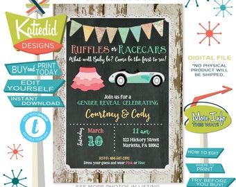 Gender Reveal Invitation Ruffles Racecars, Twin Baby Shower Invitation Gender Neutral | 1473 Katiedid Card