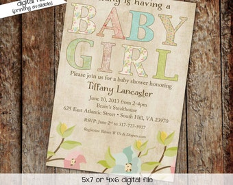 couples baby shower invitation floral girl twins rustic sugar spice coed sprinkle books brunch sip see baptism birthday | 136 Katiedid cards