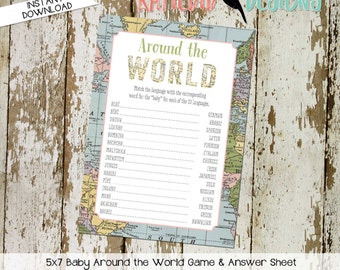gender reveal party game around the world shower game Travel Themed oh the places you'll go Adventure Awaits world map 1455 Katiedid Designs