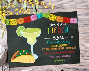 Fiesta dia de los muertos Cinco de mayo tacos margaritas couples shower invitation day of the dead bridal shower party | 367 Katiedid Cards