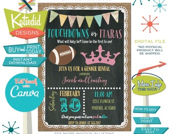 Gender Reveal Invitation, Touchdowns or Tiaras Twin Baby Shower or Edit for ANY Event | 1472 Katiedid Designs