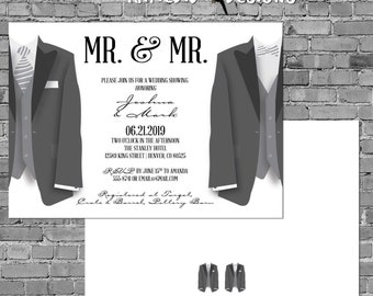 gay wedding shower invitation with tuxedos bow tie neck tie Mr. and Mr. engagement party stock the bar | 342 Katiedid Designs