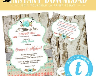 Boho chic baby girl shower invitation tribal oh little deer dear mint coral twin coed antler rustic couple diaper woodland | 1382 Katiedid