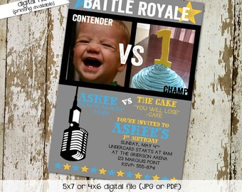 Boxing Birthday invitation party battle royale theme little boy first 1st cake smash vs photo picture gray aqua yellow | 282 Katiedid Cards
