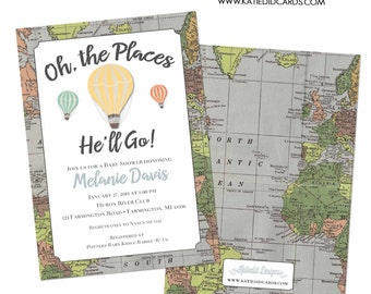 adventure awaits hot air balloon travel theme baby shower invitation world map couples coed oh the places you'll go | 1243 Katiedid Designs
