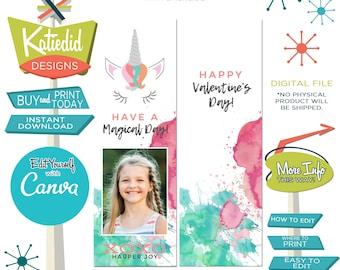Unicorn Valentine Download | Valentine Bookmark with Photo | Valentine card for School | Edit with Canva | Katiedid