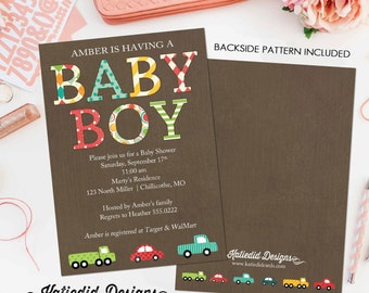 Car baby shower invitation Travel theme little truck couples coed sprinkle sip see diaper wipes birthday oh boy brunch gay   1229 Katiedid
