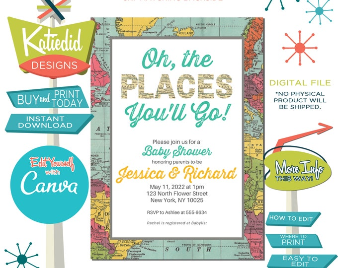 Featured listing image: Baby Shower Invitation Gender Neutral, Hot Air Balloon Invitation Travel Theme Party Adventure Awaits | 1294 Katiedid Designs