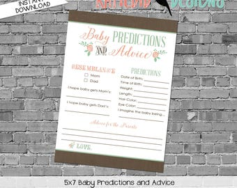gender reveal party game mint coral invite tribal arrows floral chic diaper wipe brunch baby predictions stats co-ed 1379 katiedid designs