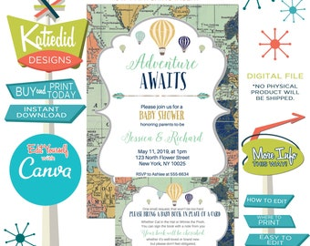 Travel Theme Gender Neutral Baby Shower Invitation with Hot Air Balloons, AND Matching Insert Bring a Book | 1466 Katiedid