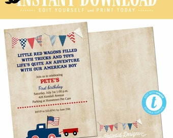 Red White and Due Gender Reveal BBQ Invitation, 4th of July Couple Shower, Patriotic All American Boy | 238 Katiedid