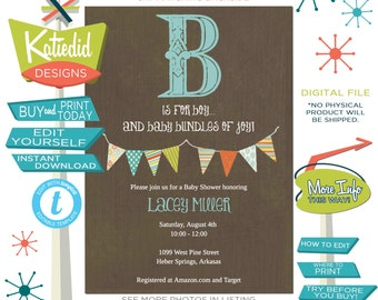 Rustic Baby Boy Shower Invitation, Retirement Birthday Party, Twin Boy Sip and See | 122 Katiedid designs
