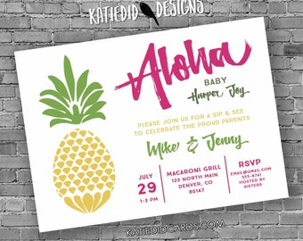 aloha luau Hawaiian invitation pineapple coed baby shower couples bridal stock the bar I Do BBQ Engagement party | 1383 Katiedid Designs