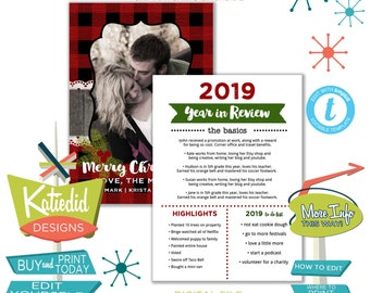 Buffalo Plaid Year in Review Christmas Card with Photos, Highlights of the Year Holiday Newsletter | 848 Katiedid Designs