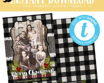 buffalo plaid christmas, christmas cards with photo, lumberjack rustic picture templett | 814 Katiedid